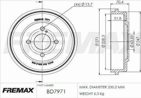 FREMAX BD-7971 - Bremžu trumulis interparts.lv