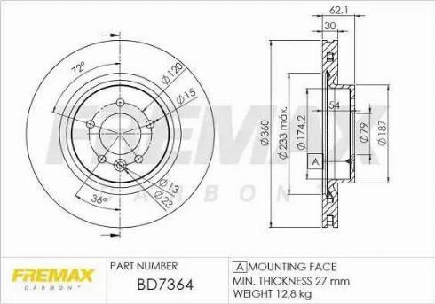 FREMAX BD-7364 - Bremžu diski interparts.lv