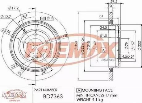 FREMAX BD-7363 - Bremžu diski interparts.lv