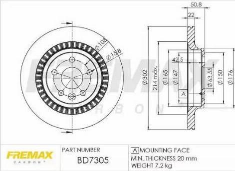 FREMAX BD-7305 - Bremžu diski interparts.lv
