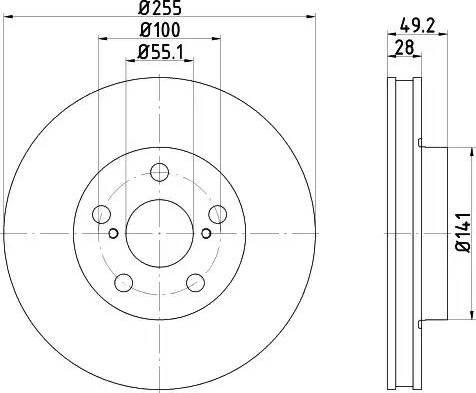 HELLA 8DD 355 104-901 - Bremžu diski interparts.lv