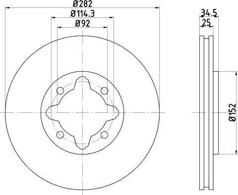 HELLA 8DD 355 104-971 - Bremžu diski interparts.lv