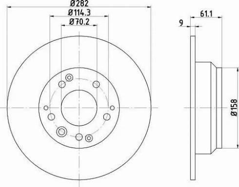 HELLA 8DD 355 105-001 - Bremžu diski interparts.lv