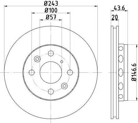 HELLA 8DD 355 105-011 - Bremžu diski interparts.lv