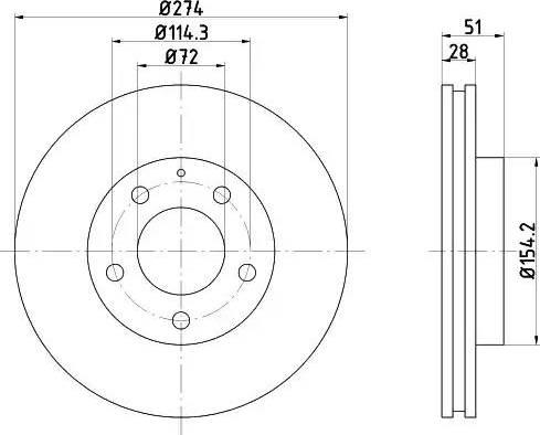 HELLA 8DD 355 105-081 - Bremžu diski interparts.lv