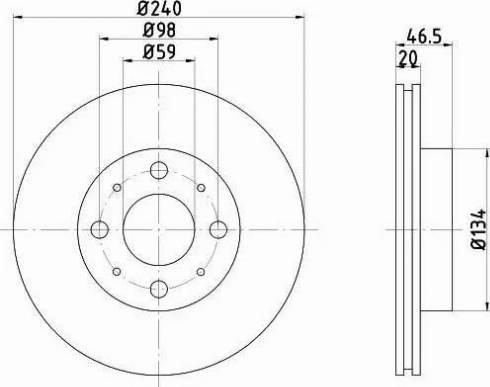 HELLA 8DD 355 105-881 - Bremžu diski interparts.lv