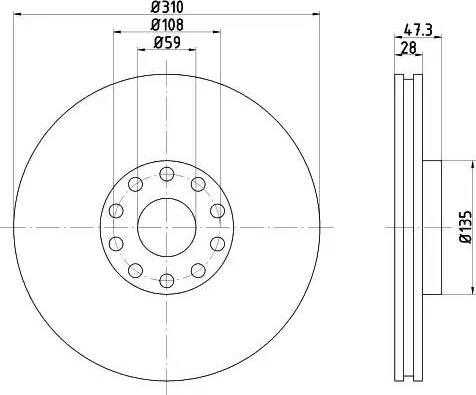 HELLA 8DD 355 106-581 - Bremžu diski interparts.lv