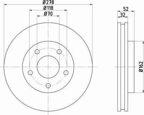 HELLA 8DD 355 106-011 - Bremžu diski interparts.lv
