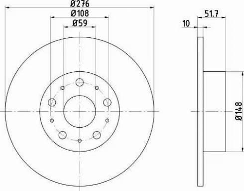 HELLA 8DD 355 106-381 - Bremžu diski interparts.lv