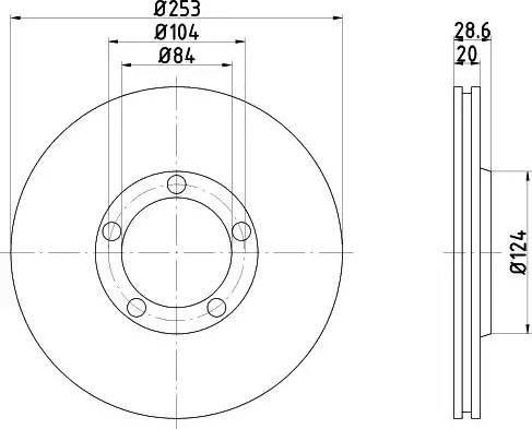 HELLA 8DD 355 106-281 - Bremžu diski interparts.lv