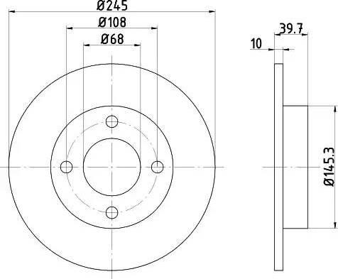 HELLA 8DD 355 100-621 - Bremžu diski interparts.lv