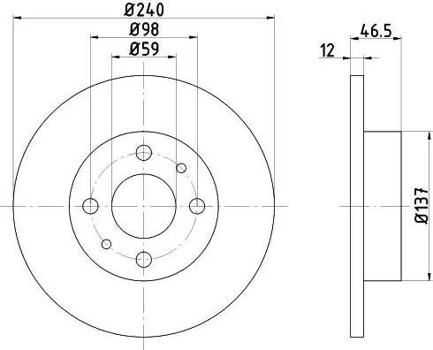 HELLA 8DD 355 101-131 - Bremžu diski interparts.lv