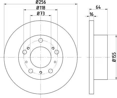 HELLA 8DD 355 101-121 - Bremžu diski interparts.lv