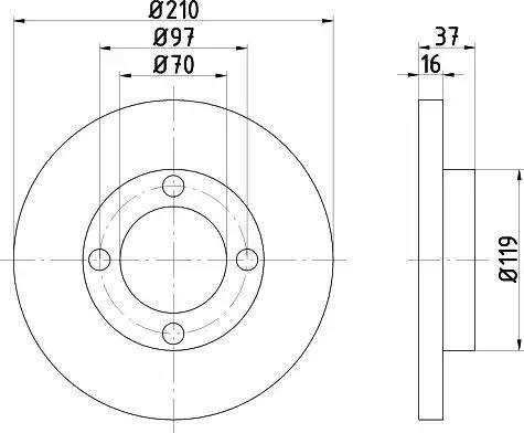 HELLA 8DD 355 108-491 - Bremžu diski interparts.lv