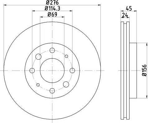 HELLA 8DD 355 108-171 - Bremžu diski interparts.lv