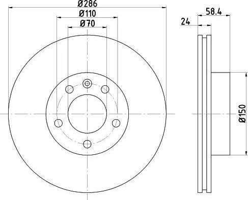 HELLA 8DD 355 103-721 - Bremžu diski interparts.lv