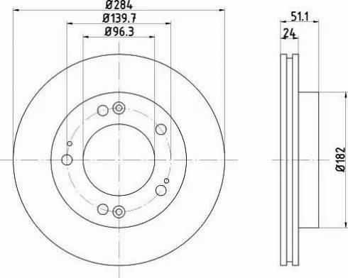 HELLA 8DD 355 107-381 - Bremžu diski interparts.lv