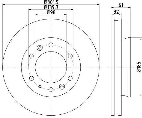 HELLA 8DD 355 119-211 - Bremžu diski interparts.lv