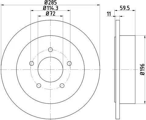 HELLA 8DD 355 114-801 - Bremžu diski interparts.lv