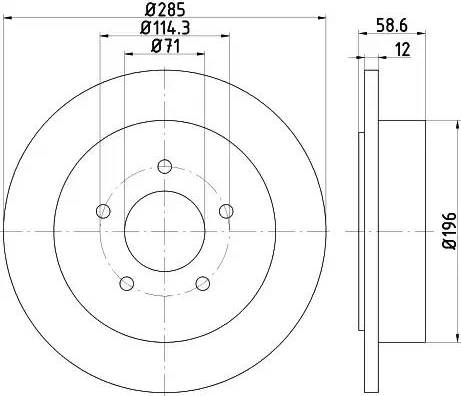 HELLA 8DD 355 114-771 - Bremžu diski interparts.lv