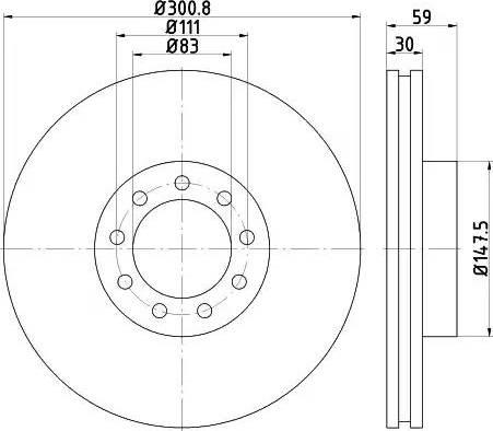 HELLA 8DD 355 115-531 - Bremžu diski interparts.lv