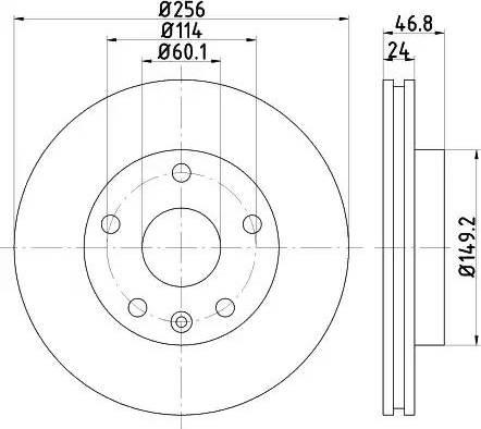 HELLA 8DD 355 113-571 - Bremžu diski interparts.lv