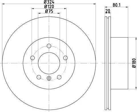 HELLA 8DD 355 121-761 - Bremžu diski interparts.lv