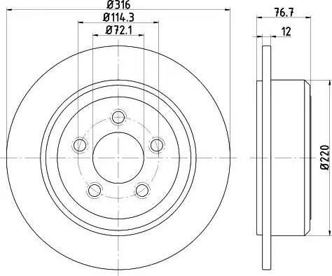 HELLA 8DD 355 122-221 - Bremžu diski interparts.lv