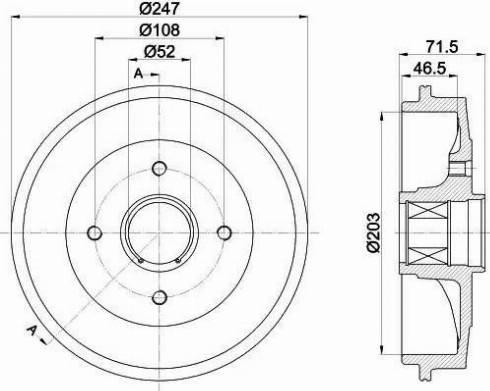 HELLA 8DT 355 302-791 - Bremžu trumulis interparts.lv
