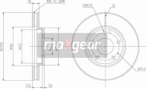 Maxgear 19-0951 - Bremžu diski interparts.lv