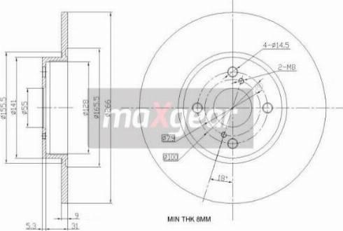 Maxgear 19-0965 - Bremžu diski interparts.lv