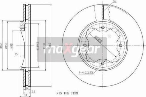 Maxgear 19-0929 - Bremžu diski interparts.lv