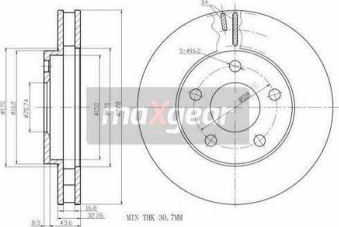 Maxgear 19-0695 - Bremžu diski interparts.lv