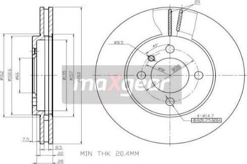 Maxgear 19-0691 - Bremžu diski interparts.lv