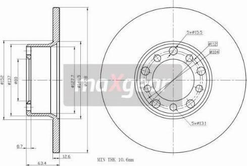 Maxgear 19-0845 - Bremžu diski interparts.lv