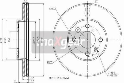 Maxgear 19-0766 - Bremžu diski interparts.lv