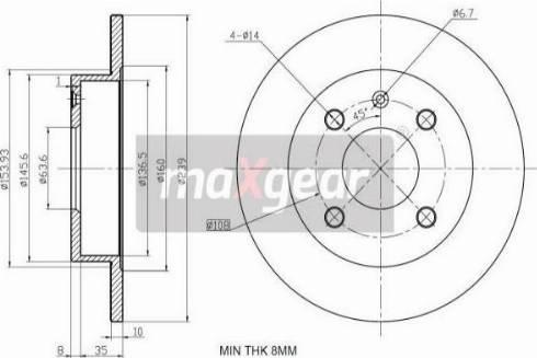 Maxgear 19-0709 - Bremžu diski interparts.lv