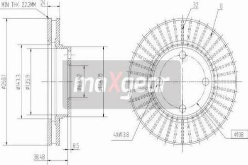 Maxgear 19-0708 - Bremžu diski interparts.lv
