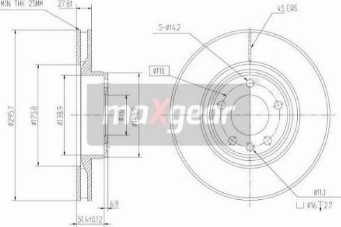 Maxgear 19-0736 - Bremžu diski interparts.lv