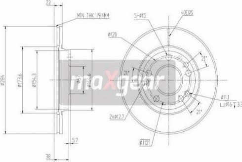 Maxgear 19-0720 - Bremžu diski interparts.lv