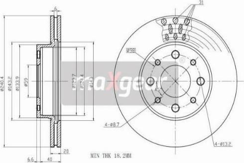 Maxgear 19-1000 - Bremžu diski interparts.lv