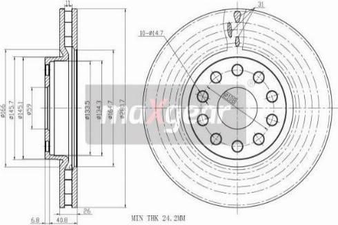 Maxgear 19-1002 - Bremžu diski interparts.lv