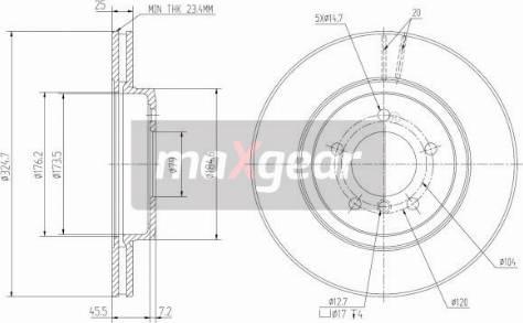 Maxgear 19-1033 - Bremžu diski interparts.lv