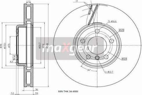 Maxgear 19-3234 - Bremžu diski interparts.lv