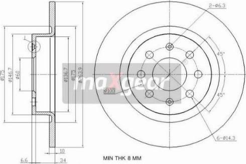 Maxgear 19-2500 - Bremžu diski interparts.lv