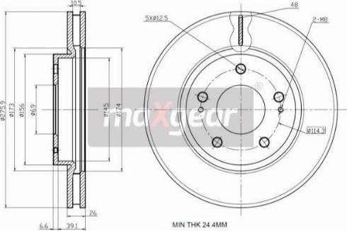 Maxgear 19-2388 - Bremžu diski interparts.lv