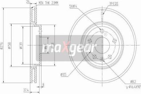 Maxgear 19-2334 - Bremžu diski interparts.lv