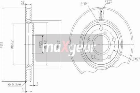 Maxgear 19-2274 - Bremžu diski interparts.lv