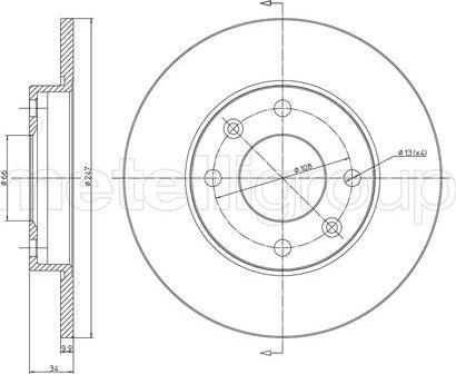 Metelli 23-0100 - Bremžu diski interparts.lv