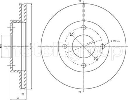 Metelli 23-0249C - Bremžu diski interparts.lv